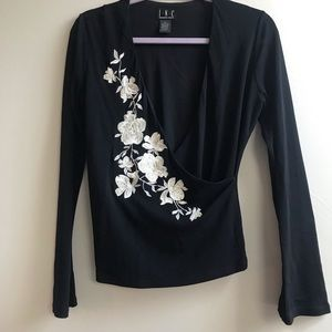 I.N.C. Black Embroidered Wrap Top